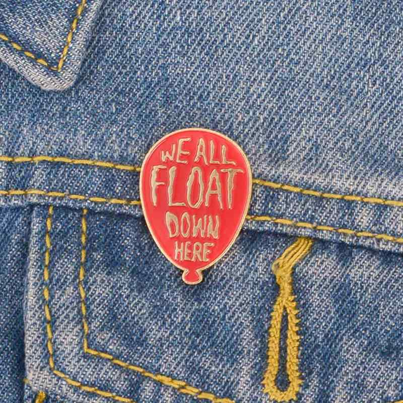 ליצן אדום בלון אמייל סיכת תג סיכת דש פין עבור ג 'ינס ג' ינס חולצה תיק כובע סרט אימה תכשיטי מתנה עבור אוהדי חברים