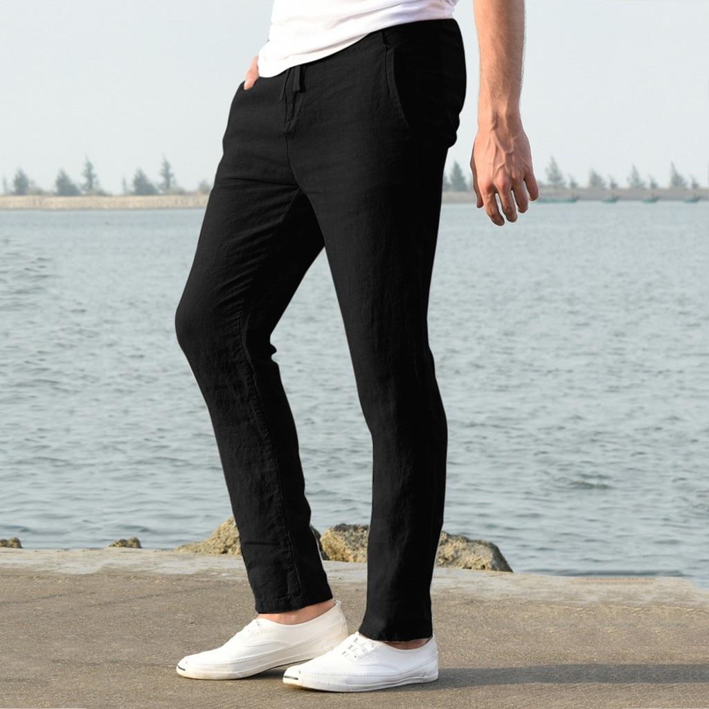 H52b92868d1234016b1f2ab368f210cf3r Feitong Fashion Cotton Linen Pants Men Casual Work Solid White Elastic Waist Streetwear Long Pants Trousers