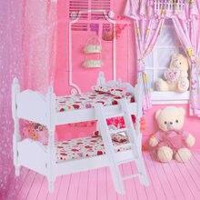Мини кровать двухъярусная модель игрушки 1:12 деревянный декор