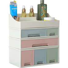 Plastic Stackable Drawer Storage Box Dustproof Desktop Cosmetic Organizer Jewelry Container Case Office Storage Makeup Organizer plastic cosmetic storage box makeup organizer with drawer desk sundries storage container organizer cosmetic storage box