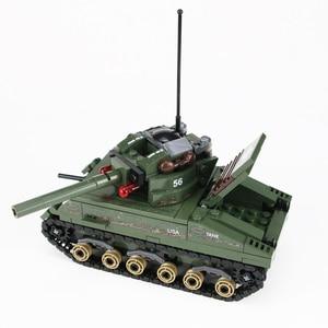 Image 5 - Военный Шерман M4 Танк солдат армии США фигурки строительные блоки военные WW2 солдат шлем оружие кирпичи части блоки игрушки