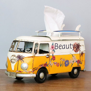 Flower Retro Iron Bus Tissue Box Model Figurines Car Craft Home Decoration Accessories for Living Room Ornaments for Home Decor 18