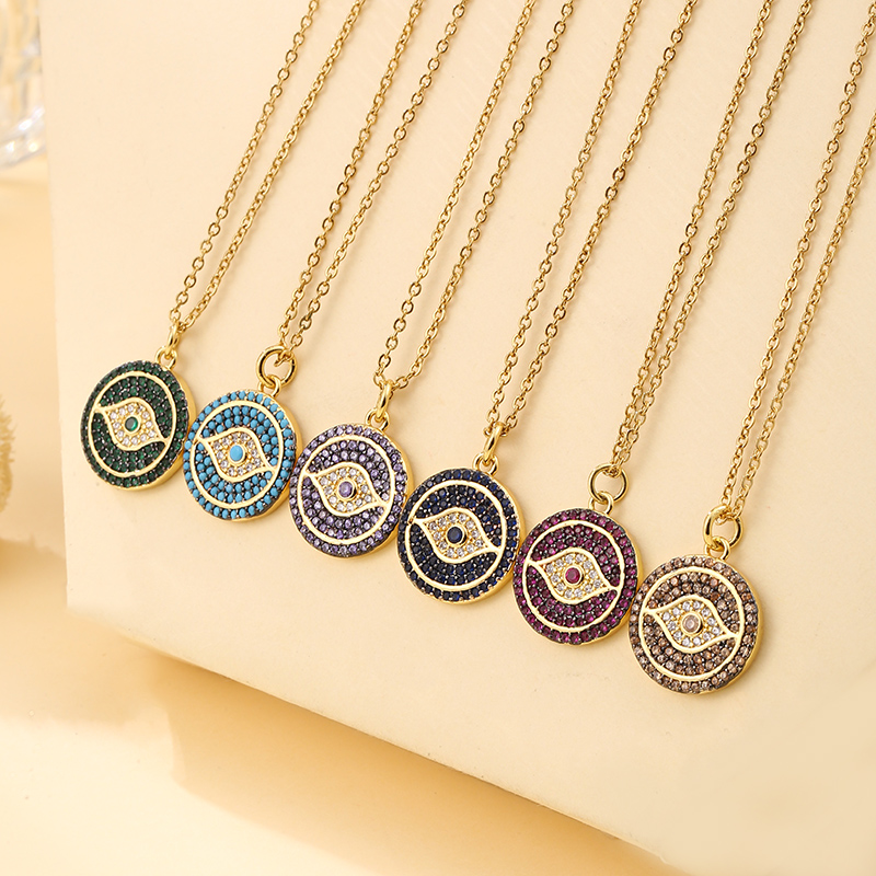 Vintage Stainless Steel Color CZ Demon Eye Pendant Necklace For Women Charm Female Necklace Jewelry Gift