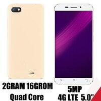 Teléfonos móviles 4G LTE, 2 GB RAM, 16 GB ROM, Quad Core, 5,0 pulgadas, Android 6,0, cámara frontal/trasera de 2MP + 5MP, 10X