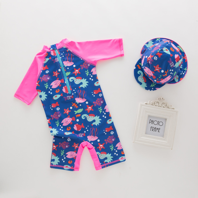 KID'S Swimwear GIRL'S One-piece Swimming Suit Rose Red School Of Fish Long Sleeve Swimwear Children Beach Sun-resistant Hooded 2