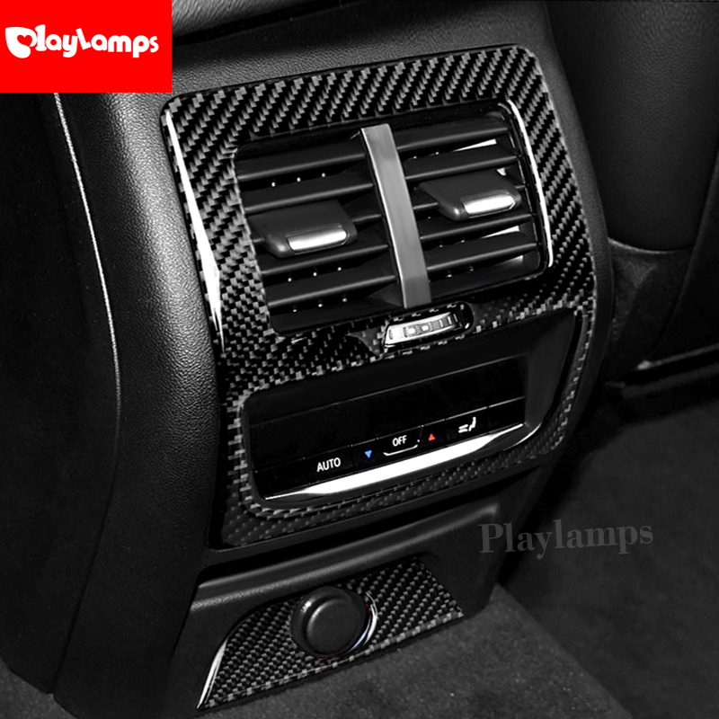 Car Styling For <font><b>BMW</b></font> <font><b>G01</b></font> G02 <font><b>X3</b></font> X4 Carbon Fiber Car Center Console Rear Air Conditioning Outlet Vent Frame Car stickers Decals image