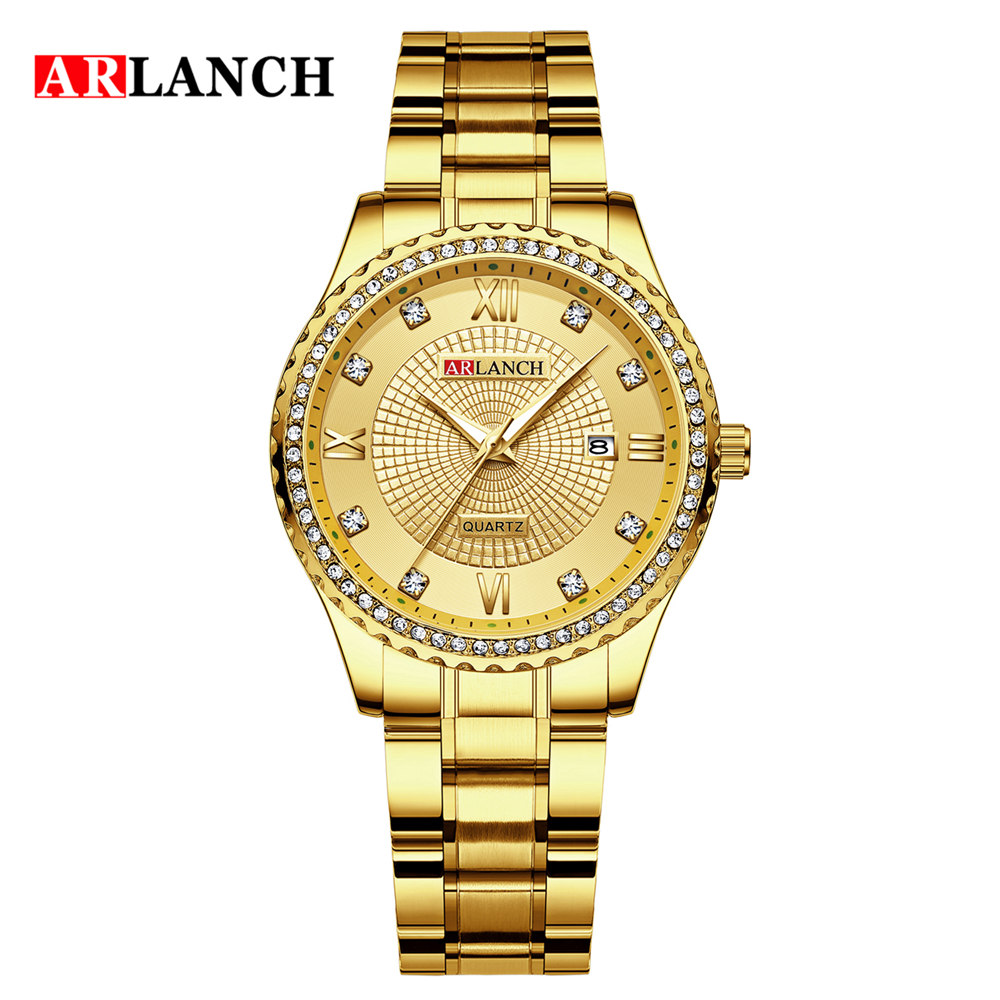 2020 New ARLANCH Women Watches Golden Stainless Steel Exquisite Watch ladies Rhinestone Luxury Casual Quartz Watch Relojes Mujer