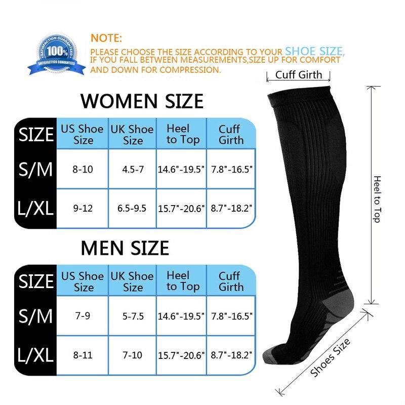 Unisex socks size chart
