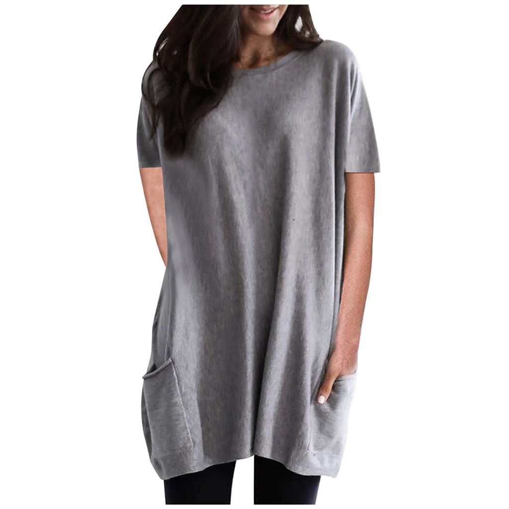 2020 Casual T-Shirt For Women Fashion Simple Solid Short Sleeve Shirt Feamle Soft O-Neck Pocket Loose Top Tshirt Dropshipping#40