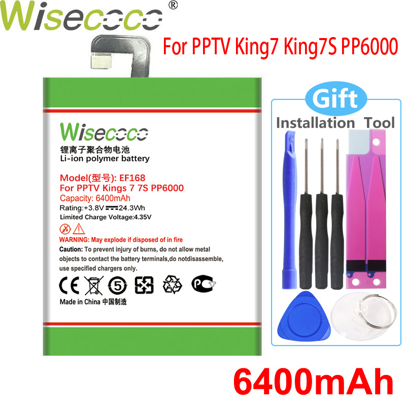 WISECOCO 6400mAh EF168 Battery For PPTV King 7 King7S PP6000 CellPhone High Quality New +Tracking Number