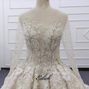 Image 2 - Eslieb Ball Gown Dress Rhinstone Beadings Pearl Crystals Champagne Lace Lace Up Back Custom Made Full Sleeves