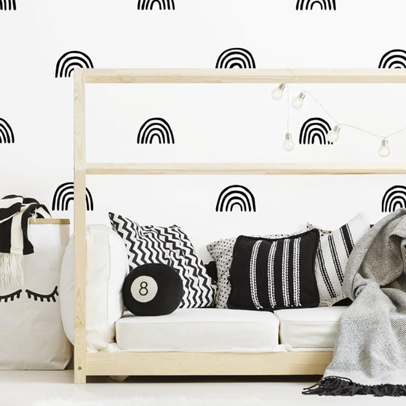 Scandinavian Rainbow Wall Stickers For Kids Room Wall Decals Nursery Decal Art Decorative Stickers For Bedroom Living Room Vinyl