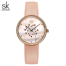 Shengke שעון נשים אופנה מזדמן 30M עמיד למים קוורץ Qatches עור רצועת ספורט גבירותיי אלגנטי שעון יד ילדה