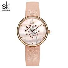 Shengke relógio feminino moda casual 30m impermeável quartzo qatches pulseira de couro esporte senhoras elegante relógio de pulso menina