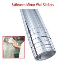 0,1 мм наклейки на стену для зеркала в ванной, самоклеящаяся пленка для зеркала, самоклеющиеся наклейки для украшения комнаты, 50x100 см, самоклеющиеся плитки