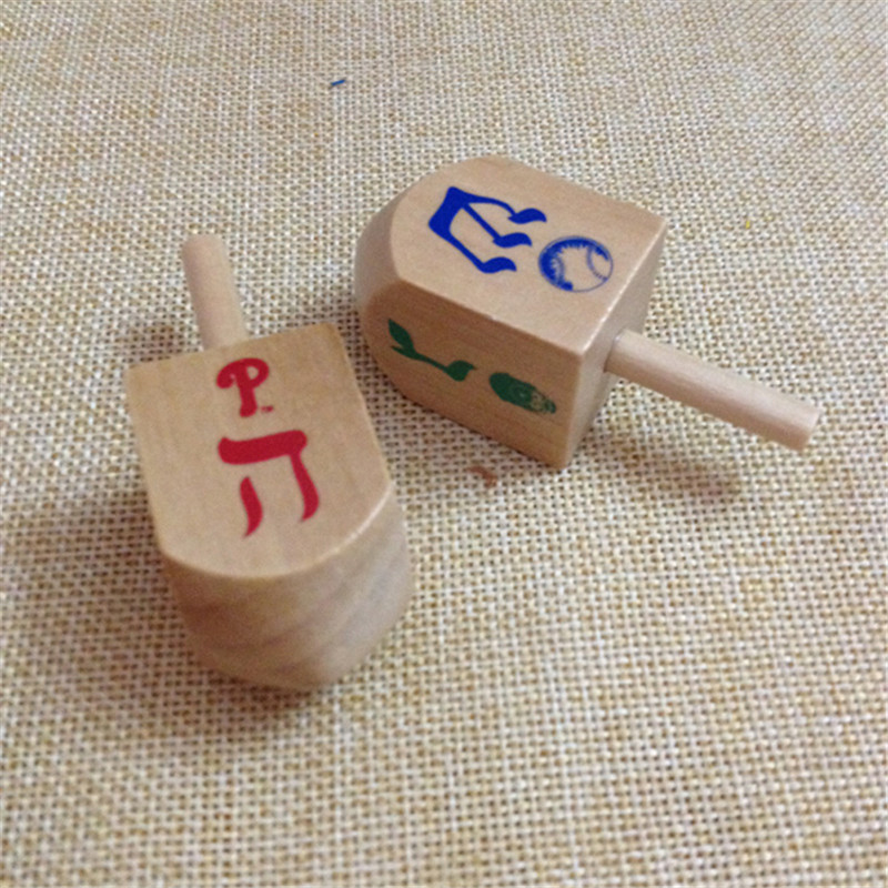 Mskwee 2.5inch Custom Printed Logo Dreidel,Wooden Spins Toy For Kids,toy Spinning Top