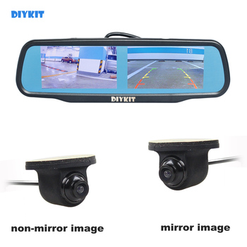 "DIYKIT Dual Screen 4.3"" TFT LCD Rear View Car Mirror Monitor + HD Car Rear View Camera for Rear/ Front / Side View"
