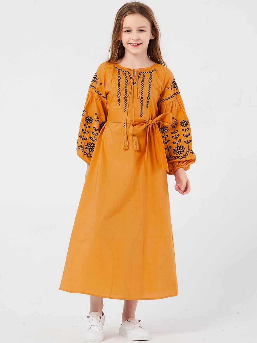 Girls Yellow Color Flower Embroidery with Belt Maxi Dress Muslim Girls Princess Dresses