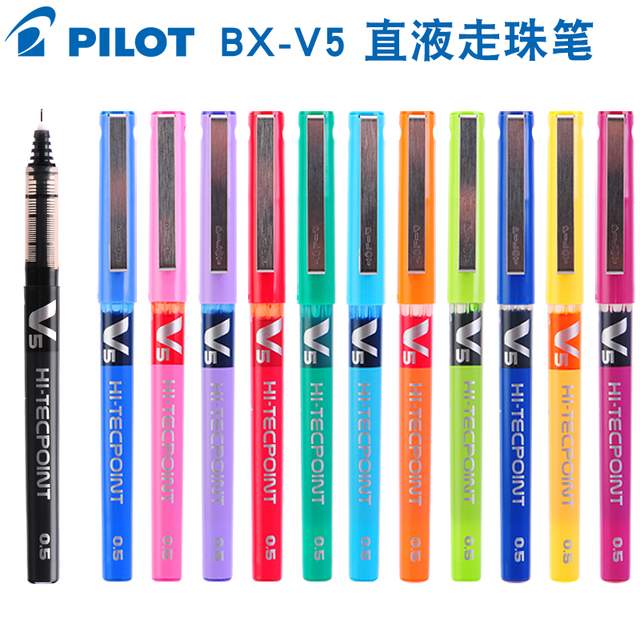 japan stationery PILOT BX-V5 0.5mm Straight pen Large capacity color ink ball pen School supplies 4