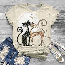 Najlepiej sprzedające się koszulki dla dorosłych Kitty walentynki letnie krótkie ubrania koszula O-Neck kot nadruk kreskówkowy T-shirt Dropshipping