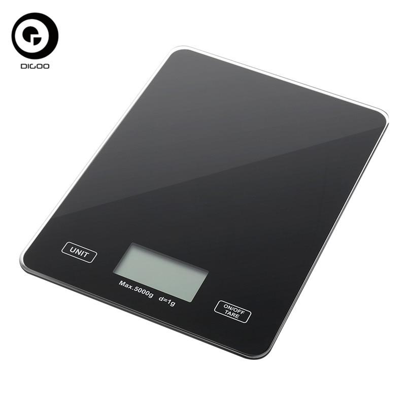 DIGOO DG-TGK1 Digital Toughened Glass Scale 1g/5kg Food Scale Ultra Slim Tempered Glass LCD Display Kitchen Mesuring Tool