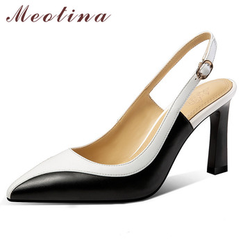 Meotina High Heels Women Shoes Natural Genuine Leather Thin High Heel Slingbacks Shoes Real Leather Buckle Pumps Lady Size 34-39