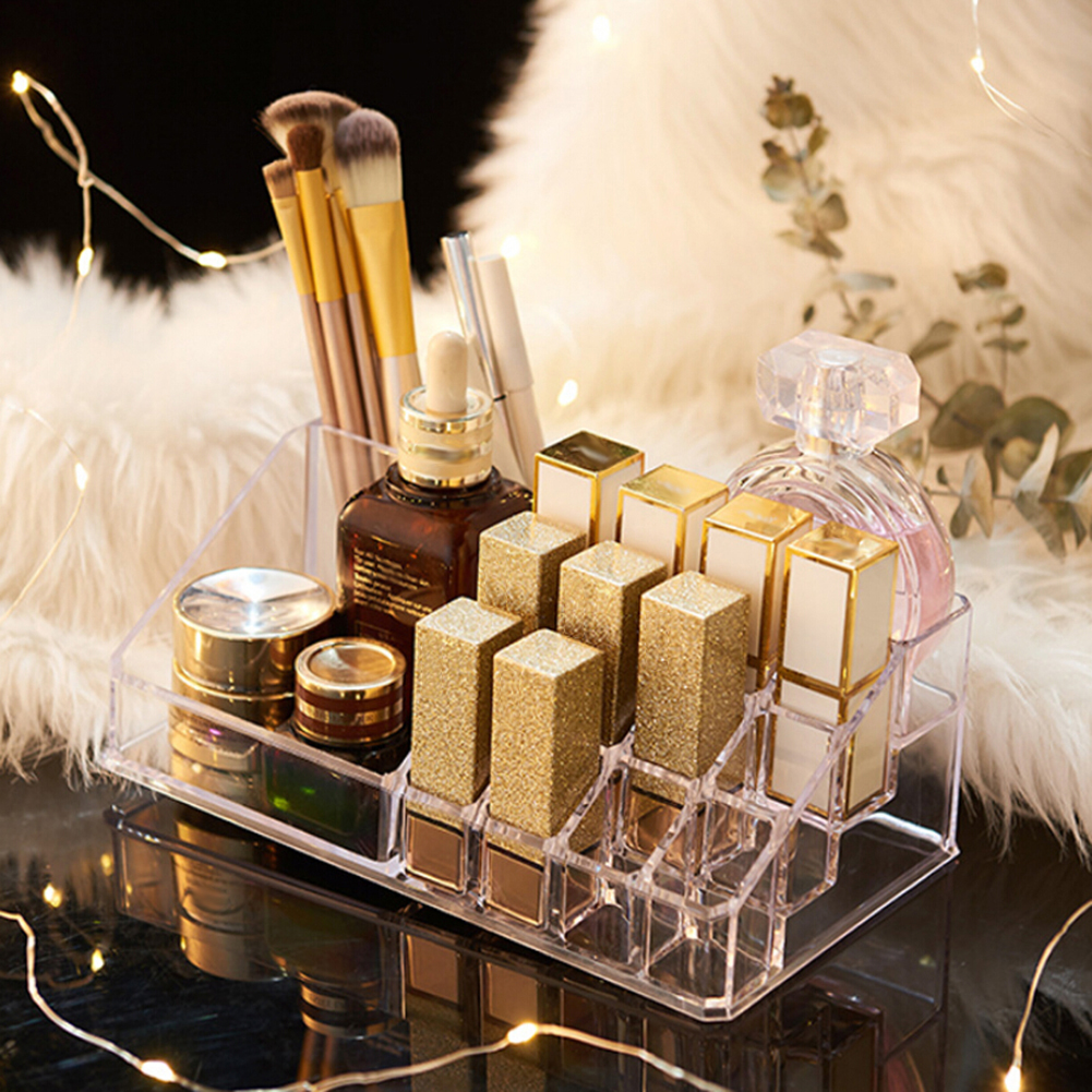 Multiple Grid PS Transparent Makeup Organizer Storage Box Lipstick Nail Drill Polish Organizer Cosmetic Jewelry Box Holder