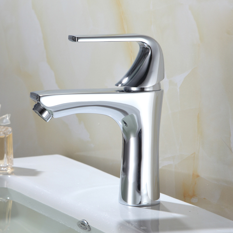 High-Heel Single Bore Copper Hot And Cold Basin Faucet Washbasin Wholesale Mixing Faucet Toilet Bathroom Cabinet Wholesale