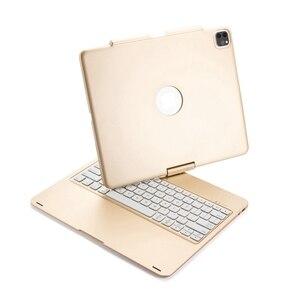 Image 2 - Housse de protection avec clavier, pour iPad Pro pivotant à 12.9 à 2018 degrés, rétroéclairage LED sans fil Bluetooth, avec clavier russe, espagnol et hébreu