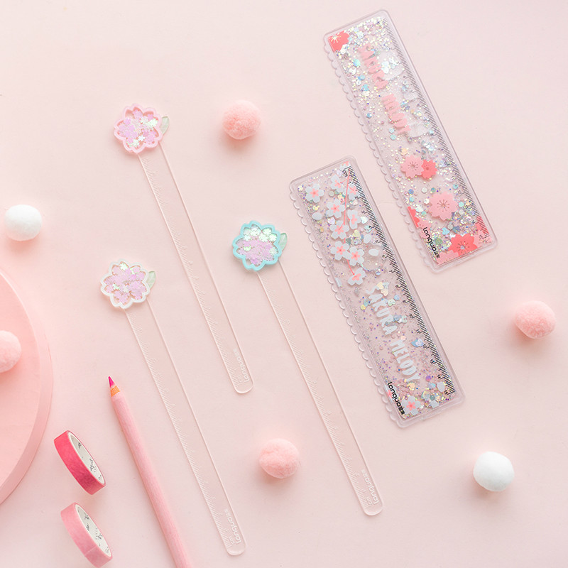 Small Fresh Cherry Blossom Sand Ruler Girl Heart Into Oil Bookmark Ruler Transparent Multi-function Scale Kawaii School Supplies