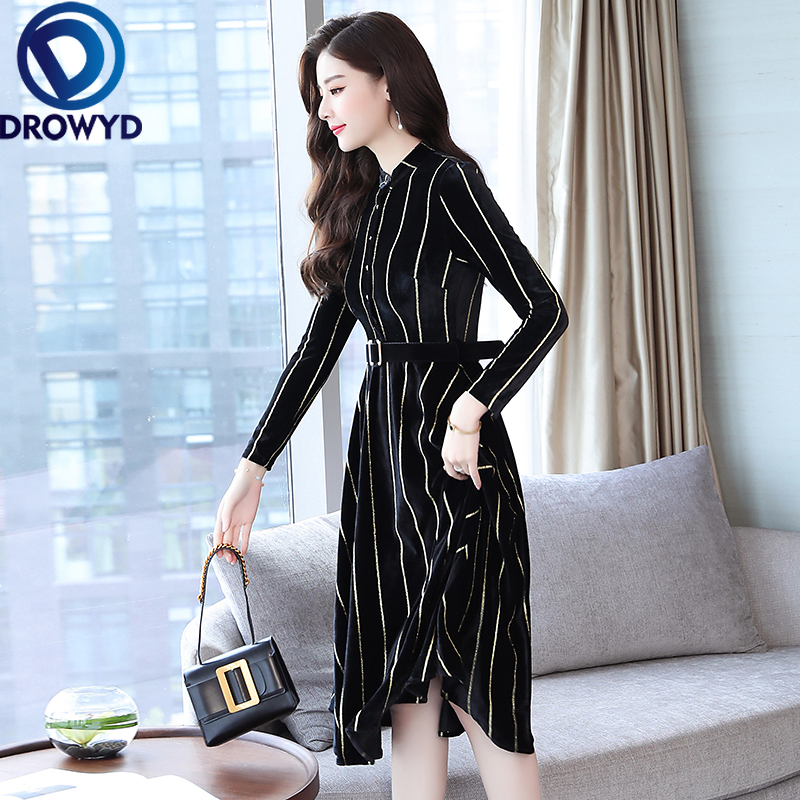 Vintage Gold Velvet Midi Dress Women Autumn Boho Long Sleeve O neck Striped Print Slim Dress Casual Holiday Party Dress Vestidos in Dresses from Women 39 s Clothing