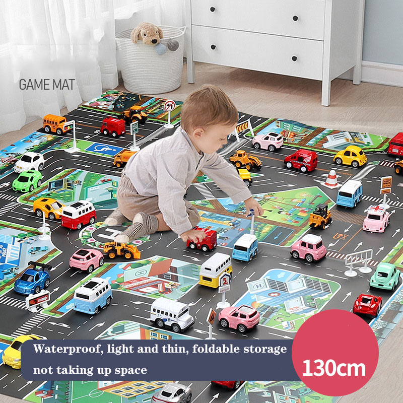 Waterproof Children's Toy Play Mat <font><b>130*100cm</b></font> New Chinese and English Version City Traffic Parking Lot Scene Mat Educational Toys image