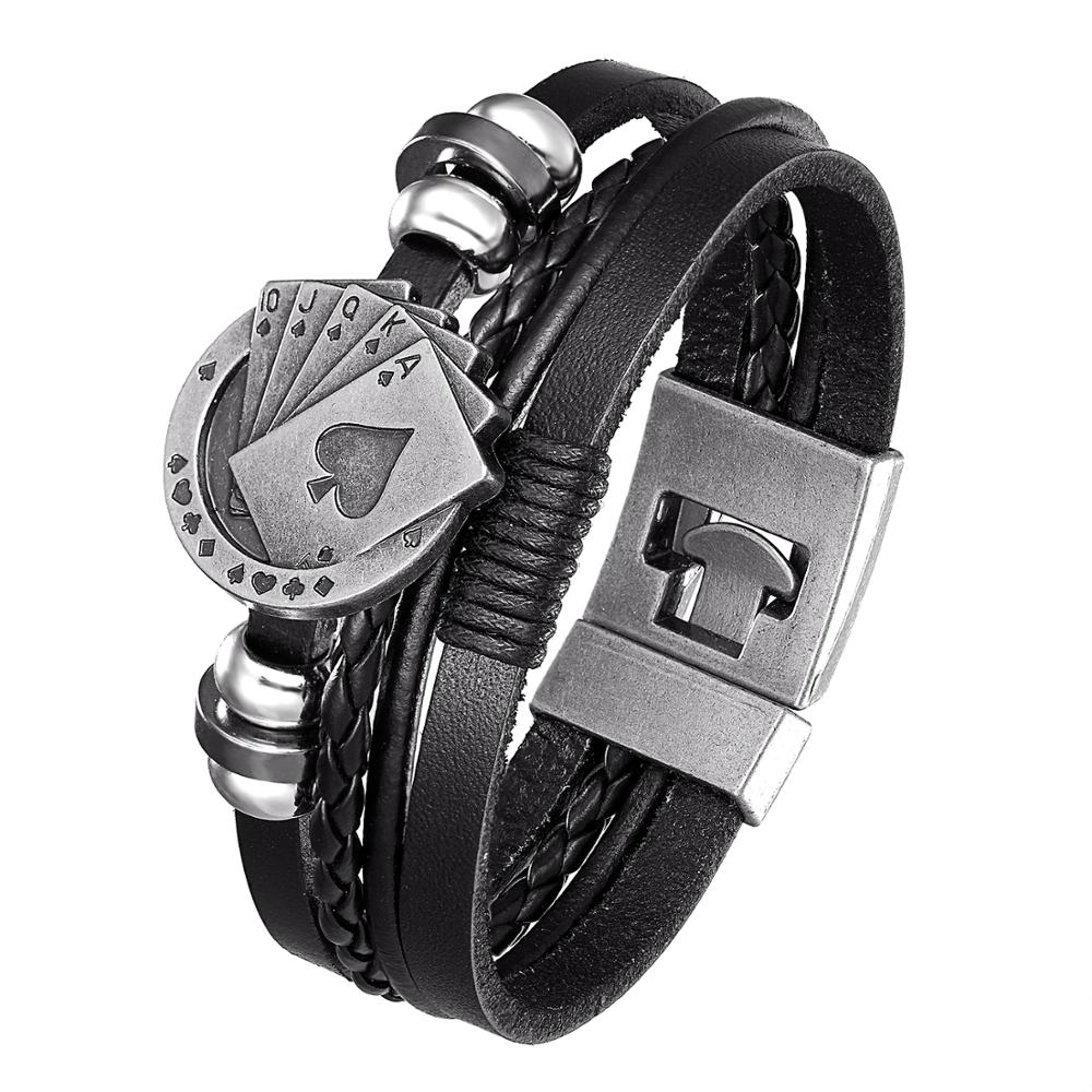 2020 New Style, Fashionable Vintage Leather Bracelet Men's Poker Raja Vegas Charm Multilayer Woven Lady Pulseira Masculina