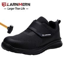 LARNMERN zapatos de seguridad con punta de acero para hombre, calzado liviano de protección para construcción, zapatillas de trabajo a prueba de golpes 3D