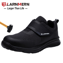 Larnmernメンズ安全靴鋼つま先建設保護靴軽量3D耐衝撃作業スニーカーの靴