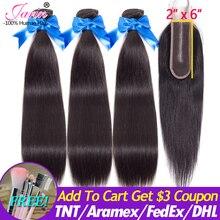 Перуанские прямые волосы, 3 пучка с кружевной застежкой Kim, 100% натуральные волосы Remy, пучок, со средней частью, кружевное закрывание, 8 30 дюймов