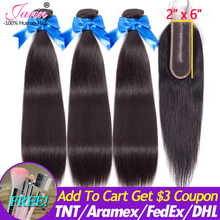 Peruvian Straight Hair 3 Bundles With Kim Lace Closure 100% Remy Human Hair Bundle Deal With Middle Part Lace Closure 8 30Inches
