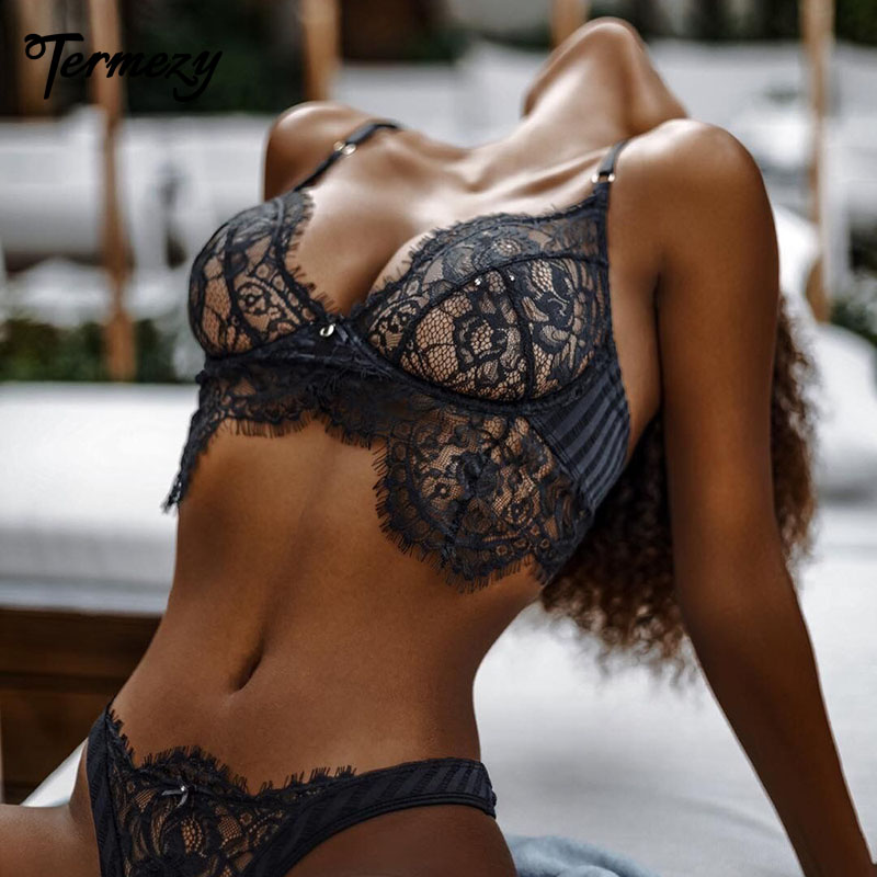 TERMEZY Lace Sexy Bra Set Push Up Seamless Bralette Lingerie Set Women Transparent Bra And G String Panties Soft Underwear Set