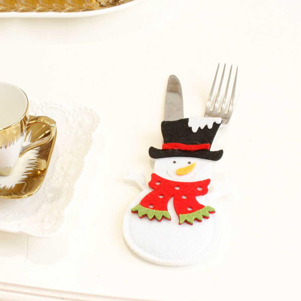1Pcs Ornamento Di Natale Babbo Natale pupazzo di neve Renna Tasca Forchetta Coltello Posate Holder Sacchetto di Festa A Casa Tavolo Da Pranzo Tavola Decorazione