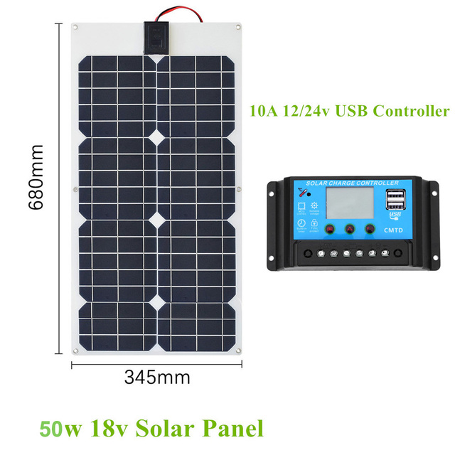 50W 18V Solar Panel Dual DC Output Solar Cells Panel 10A/20A Controller Led lights 1