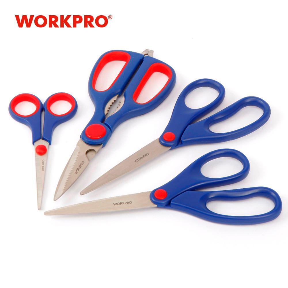 WORKPRO Paper Scissors, 4-piece Home Scissors Set Multipurpose For DIY Craft Paper-cutting
