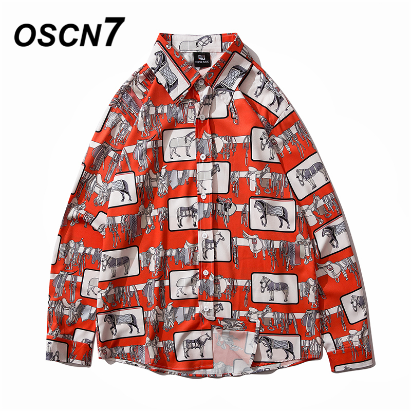OSCN7 Casual Printed Long Sleeve Shirt Men High High Streetwear 2020 Fall Women Shirt Retro Shirts Harujuku Mens Shirt 2061