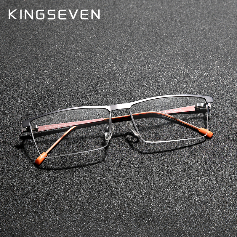 KINGSEVEN 2020 Titanium Alloy Optical Glasses Frame Men 2020 Square Myopia Prescription Eyeglasses Male Metal Eyewear Men