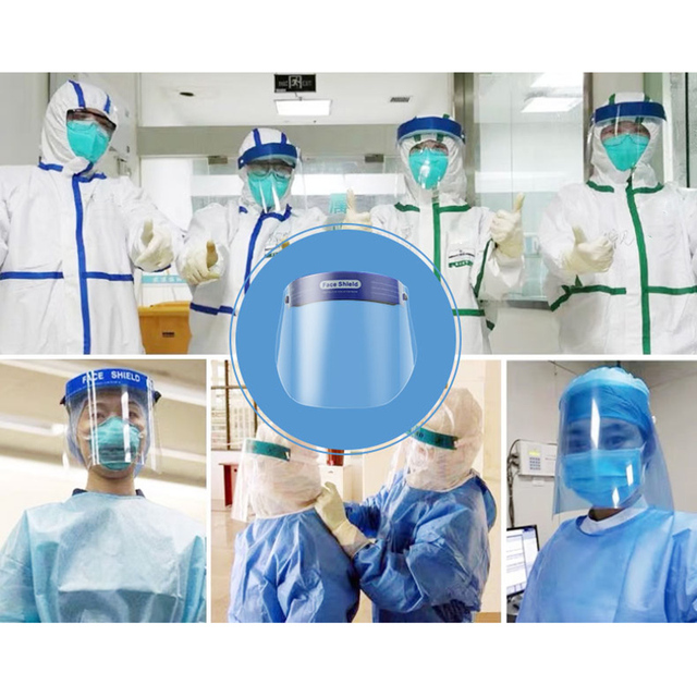 2 pcs Splash-Proof Protective Face Shield Reusable Full Face Protective Mask Saliva Protection Clear Visor Respirator EK 4
