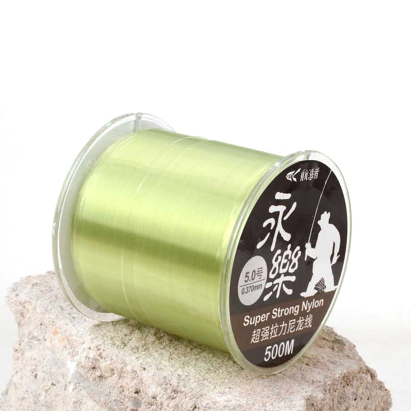 <font><b>500</b></font> Meters Smooth Durable Fishing Rope For River Lake fishing Light green Nylon Fishing Line <font><b>8</b></font> Strands image