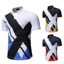 Camisa polo masculina 2020 novo lazer moda mosaico cor contraste camisa polo masculino