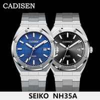 CADISEN-relojes de diseño para hombre, mecánico automático, NH35A, movimiento, 100M, resistente al agua, marca de lujo, informal, de negocios