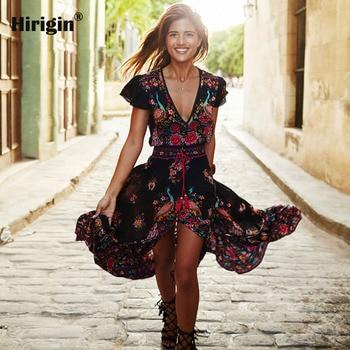 Vestido de playa bohemio hippie de algodón, prenda femenina de verano, sexi y chic para las vacaciones