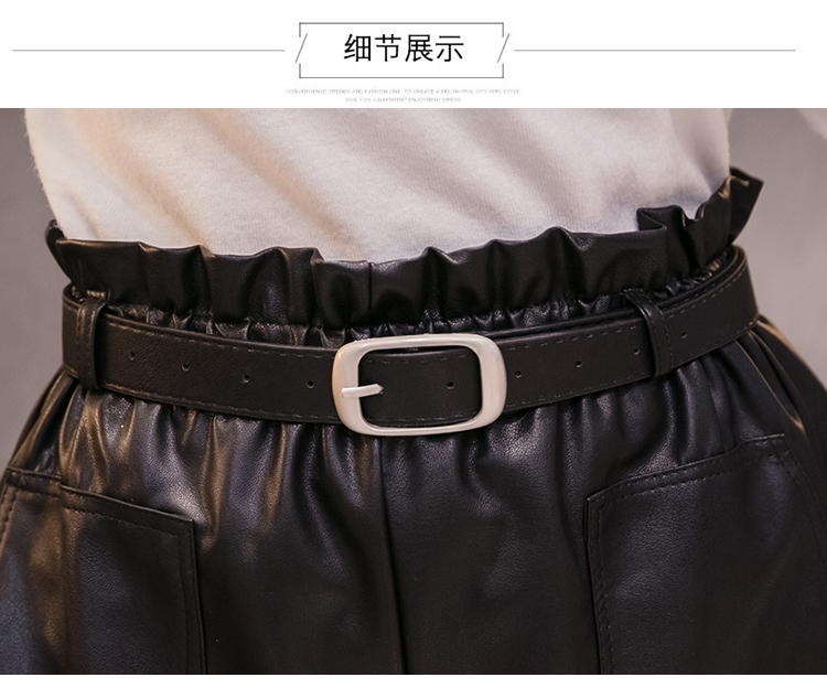 Elegant Leather Shorts Fashion High Waist Shorts Girls A-line  Bottoms Wide-legged Shorts Autumn Winter Women 6312 50 56