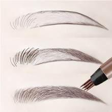 Crayon à sourcils à 4 fourchettes, maquillage naturel, teinte de sourcils, tatouage, marron foncé, cosmétique durable pour les yeux